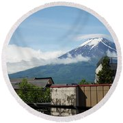 Mount Fuyji From A Distance With Clouds Around It Round Beach Towel