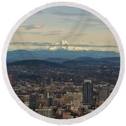 Mount Hood View Over Portland Cityscape Round Beach Towel