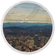 Mount Hood View Over Portland Cityscape Panorama Round Beach Towel