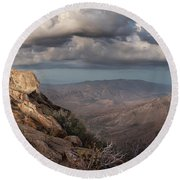 Mount Laguna At Dusk Round Beach Towel