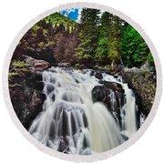 Mount Tremblant Waterfall Round Beach Towel