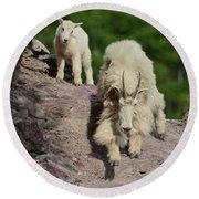 Mountain Goats- Nanny And Kid Round Beach Towel