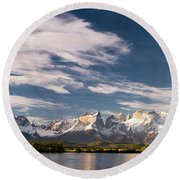 Mountain Range At Sunset Seen From Rio Round Beach Towel