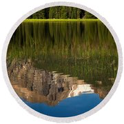 Mountain Reflection In Beirstadt Lake Round Beach Towel
