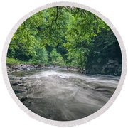 Mountain Stream In Summer #1 Round Beach Towel by Tom Claud