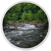 Mountain Stream In Summer #2 Round Beach Towel by Tom Claud