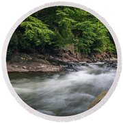 Mountain Stream In Summer #3 Round Beach Towel by Tom Claud
