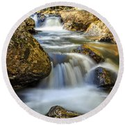 Mountain Stream Waterfall  Round Beach Towel