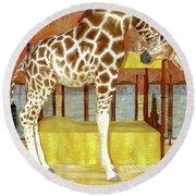 Ms Kitty And Her Giraffe  Round Beach Towel