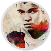 Muhammad Ali Watercolor Portrait Round Beach Towel