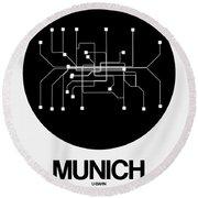 Munich Black Subway Map Round Beach Towel