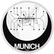 Munich White Subway Map Round Beach Towel