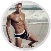 Muscular Model On Beach Round Beach Towel