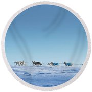 Mushing Alaska Round Beach Towel