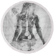 Music Was My First Love In Black And White Round Beach Towel