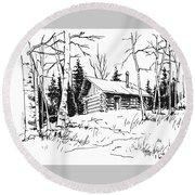 My Cabin In The Woods Round Beach Towel