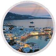 Mykonos Town At Sunset Mykonos Cyclades Greece  Round Beach Towel