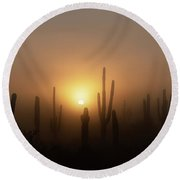 Mystic Desert Sunrise  Round Beach Towel