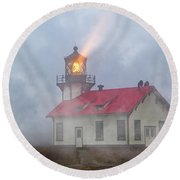 Mystical Point Cabrillo Lighthouse California Round Beach Towel