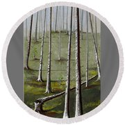 Naked Forest Round Beach Towel