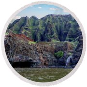 Napali Cave And Waterfall Round Beach Towel