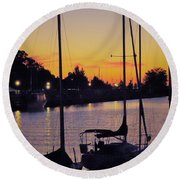 Narrow Sunset Round Beach Towel