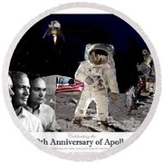 Nasa 50th Anniversary Of The Apollo 11 Lunar Landing By Artist Todd Krasovetz Round Beach Towel