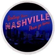Nashville Postcard Round Beach Towel