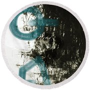 Natural Reflections With Blue Shapes Round Beach Towel