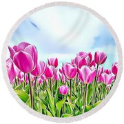 Naturalness And Flowers 48 Round Beach Towel