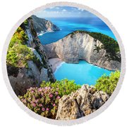 Navagio Bay Round Beach Towel