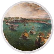 Naval Battle In The Gulf Of Naples Round Beach Towel