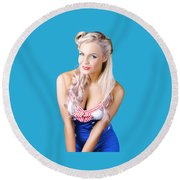 Navy Pinup Woman Round Beach Towel
