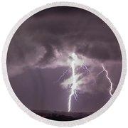 Nebraska Arcus And Lightning 044 Round Beach Towel