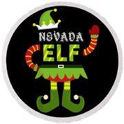 Nevada Elf Xmas Elf Santa Helper Christmas Round Beach Towel