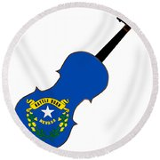 Nevada State Fiddle Round Beach Towel