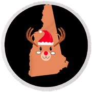 New Hampshire Christmas Antler Red Nose Reindeer Round Beach Towel