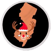 New Jersey Christmas Hat Antler Red Nose Reindeer Round Beach Towel