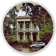New Orleans Home In Watercolor Round Beach Towel