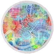 New Orleans Map Watercolor Round Beach Towel