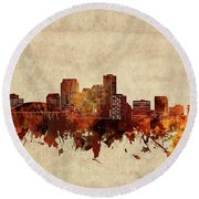 New Orleans Skyline Sepia Round Beach Towel