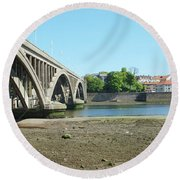 new road bridge across river Tweed at Berwick-upon-tweed Round Beach Towel