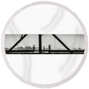 New York City From The Bridge #nyc #cityscape Round Beach Towel