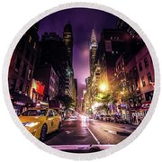 New York City Street Round Beach Towel