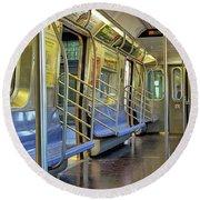 New York City Empty Subway Car Round Beach Towel