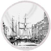 New York Docks, 1856 Round Beach Towel