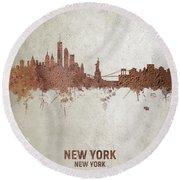 New York Rust Skyline Round Beach Towel