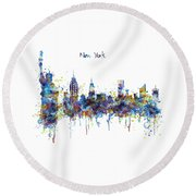 New York Watercolor Skyline Round Beach Towel