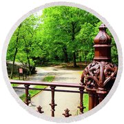 New York's Central Park Winterdale Arch Railing Cast Iron Art Round Beach Towel