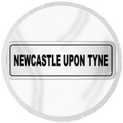 Newcastle Upon Tyne City Nameplate Round Beach Towel